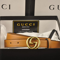 GG Double G letter buckle belt for men and women with smooth buckle belt