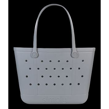 Simply Southern Large Solid Fog Grey Beach Waterproof Washable Tote Bag