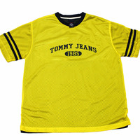 Vintage 90s Tommy Jeans Yellow/Navy Jersey Shirt Mens Size Large