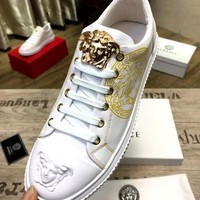 Versace White Men Women Fashion Casual Low Help Flat Running Sports Shoes Sneakers Size 38-44