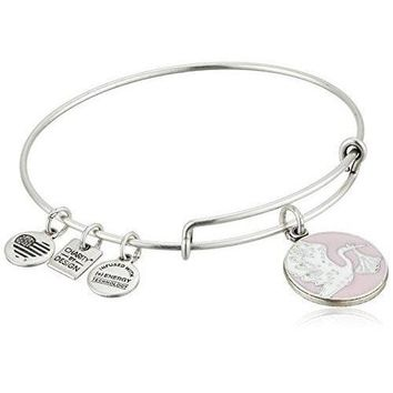 Alex and Ani Charity By Design Special Delivery Pink Rafaelian Silver Bangle Bracelet