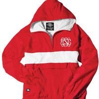 Red and White Monogrammed Striped Personalized Half Zip Rain Jacket Pullover by Charles River Apparel