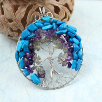 Blue howlite, amethyst and labradorite Tree of Life pendant