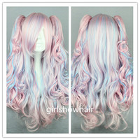 70cm-60cm-Long-Pink-and-B­lue-Mixed-Beautiful-lolita­-wig-Anime-Wig hiaA