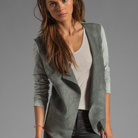 Michael Stars Leather Long Sleeve Drape Front Cardigan in Heather Grey/Grey from REVOLVEclothing.com