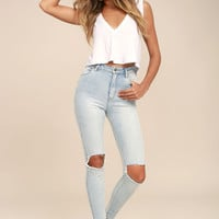 Rollas Eastcoast Staple Light Blue Distressed Skinny Jeans