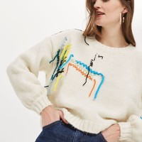 Undone Embroidered Jumper | Topshop