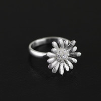 Silver Natural Diamond Exquisite Daisy Ring