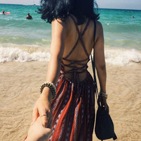Fashion Boho Retro Print Sleeveless V-Neck Backless Crisscross Bandage Strap Maxi Dress