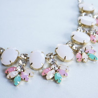 Bauble Necklace, Pastel Colored Necklace, Pale Pink Crystals and Stones Colorful Fashion Statement Necklace and Earrings Set