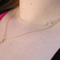 Layering Necklace Set - Delicate Gold Layer Necklaces - Layered Necklace - Lightning Bolt Necklace - Circle Necklace - Layered Pendant Set