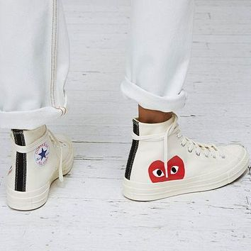 """Vsgirlss """"Converse"""" Play Red Heart Fashion Canvas Flats Sneakers Sport Shoes High Tops White"""