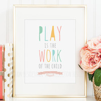 Montessori Classroom Decor, Homeschool Print, Play is the Work of the Child Maria Quote Early Childhood Education Elementary Poster Material