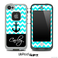 Trendy Blue/White Chevron with Your Name Custom Skin for the iPhone 5 or 4/4s LifeProof Case