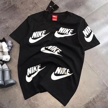 "Hot Sale ""NIKE"" Popular Unisex Casual Full Big Logo Print Short Sleeve Cotton T-Shirt Pullover Top Black I12932-1"