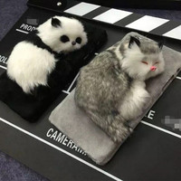 Cute Dead Sleep Panda Cat iPhone 7 se 6 6s Plus Case Furry Cover + Gift Box-160