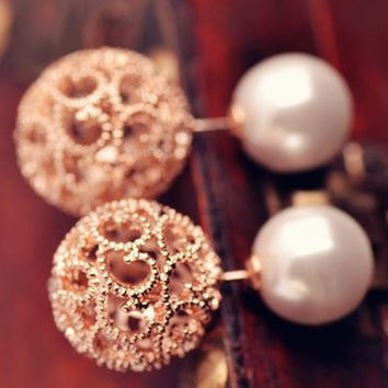 Rose Gold Pearl Earrings, women's earrings, pearl stud earrings, double sided earrings, silver plated stud earrings, dressy earrings
