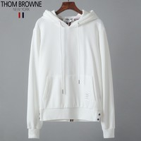 Thom Browne autumn and winter new tide brand bottoming sweater loose hooded hoodie sweater White