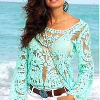 New Fashion Women Summer Loose Casual Lace Long Sleeve Vest Shirt Tops Blouse