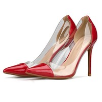 Fashion lacquer transparent glue stitching pointed High Heel Shoes Sexy shallow women's shoes Red
