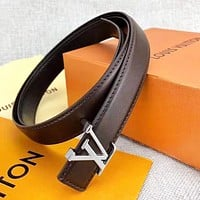 Louis Vuitton LV New Fashion Letter Buckle Leather Women Men Leisure Belt Coffee Width 2.4CM With Box