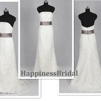 Custom A-line Strapless Sweep Train Lace Long Wedding Dress Prom Dress Formal Evening Dress 2013 With Sash