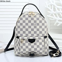 LV tide brand men and women simple chessboard backpack travel backpack White check