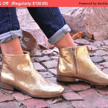 SALE - 20% OFF - Garibaldi - Womens Leather Boots, Gold Boots, Womens Ankle Boots, Chelsea Boots, Casual, Custom Boots, FREE customizatio...