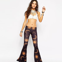 Galaxy Print Low Waist Skinny Wide Bottom Pants