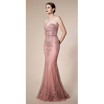 Andrea & Leo A5081 Strapless Long Prom Dress with Cape Skirt Dusty Rose