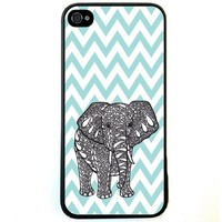 Fashion Zigzag Print Cute Elephant Hard Plastic Case Cover for iPhone 5 5S (G)