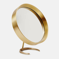 Tenfold New York — Matte Brass Round Table Top Mirror With Matte Brass Stand — THE LINE