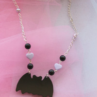 Pastel Goth Black Bat Necklace with Purple Heart and Black Beads