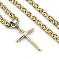 Men's Stainless Steel 8mm Gold Silver Byzantine Chain Necklace Cross Pendant