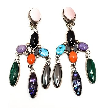 Nakai Native American sterling silver gemstone waterfall chandelier earrings vintage  925 NA
