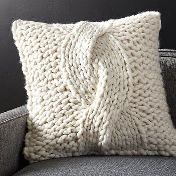 """Cozy Knit Ivory 23"""" Pillow with Feather-Down Insert"""