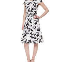 Pansy-Print Belted Inverted-Pleat