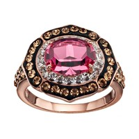 Sterling 'N' Ice Crystal 14k Rose Gold Over Silver Halo Ring - Made with Swarovski Elements (Red)
