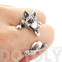 3D Siberian Husky Dog Shaped Animal Wrap Ring in Shiny Silver   Sizes 6 to 9