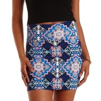 Multi Scarf Print Bodycon Mini Skirt by Charlotte Russe