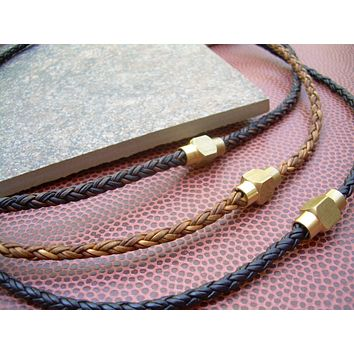 Mens Leather Necklace With Raw Brass Magnetic Clasp, Brass, Magnetic Clasp,Mens Jewelry, Mens Bracelet, Leather Bracelet, Mens Gift, For Him