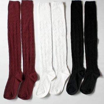 Glenna Cable Knit Thigh High Socks (More Colors) from Shop Gracie