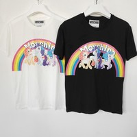 moschino unicorn print short sleeve t shirts