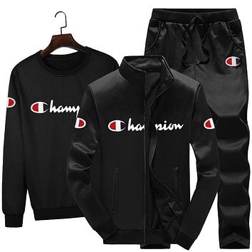 Champion New fashion letter leaf dprint long sleeve coat and top and pants three piece suit men Black