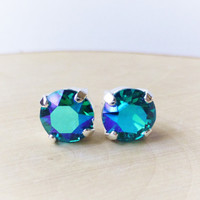Teal Swarovski Stud Earrings, Crystal Rhinestone Stud Earrings, Blue, Green, AB Prism Post Earrings, Silver Round Crystal Studs, Gift