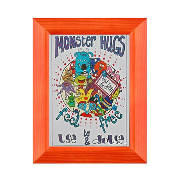 A3 Print. Love Quote wall decal. Quote Art Poster. Hugs & Monsters