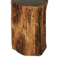 Control Brand Good Form Tree Trunk Smoking Table with Petrified Inlay Top, Natural at MYHABIT