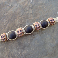 Mens Guys Skull Beaded Hemp Bracelet or by KnottyandNiceHemp