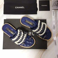 HCXX 2372 19May CCANEL New Spring and Summer Pearl Chain Sandals Dark Blue