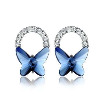 Butterfly Bow Swarovski Elements Crystal Stud Earrings - Blue